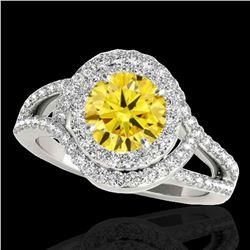 2.15 ctw Certified SI/I Fancy Intense Yellow Diamond Ring 10k White Gold - REF-244X3A
