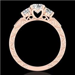 1.41 ctw VS/SI Diamond Solitaire Art Deco 3 Stone Ring 18k Rose Gold - REF-263Y6X