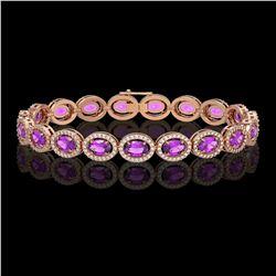 13.11 ctw Amethyst & Diamond Micro Pave Halo Bracelet 10k Rose Gold - REF-263M6G