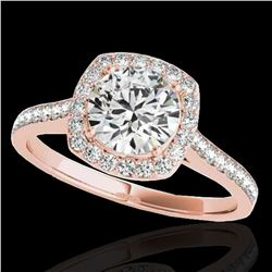 1.4 ctw Certified Diamond Solitaire Halo Ring 10k Rose Gold - REF-190F9M