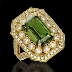 6.08 ctw Certified Tourmaline & Diamond Victorian Ring 14K Yellow Gold - REF-208W8H