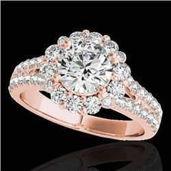 2.01 ctw Certified Diamond Solitaire Halo Ring 10k Rose Gold - REF-225A2N