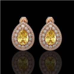 7.74 ctw Canary Citrine & Diamond Victorian Earrings 14K Rose Gold - REF-180H2R