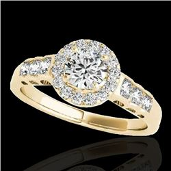 1.55 ctw Certified Diamond Solitaire Halo Ring 10k Yellow Gold - REF-204A5N