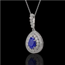 4.97 ctw Sapphire & Diamond Victorian Necklace 14K White Gold - REF-160G2W