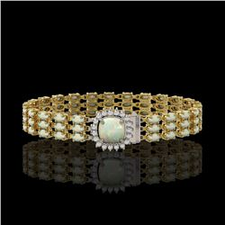 24.2 ctw Opal & Diamond Bracelet 14K Yellow Gold - REF-342R9K