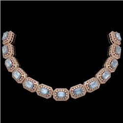 109.25 ctw Aquamarine & Diamond Victorian Necklace 14K Rose Gold - REF-3037N8F