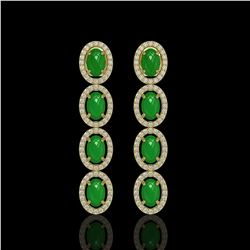 6.44 ctw Jade & Diamond Micro Pave Halo Earrings 10k Yellow Gold - REF-103W6H