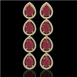 16.01 ctw Ruby & Diamond Micro Pave Halo Earrings 10k Yellow Gold - REF-236N4F