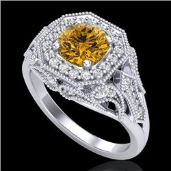 1.75 ctw Intense Fancy Yellow Diamond Art Deco Ring 18k White Gold - REF-318W2H