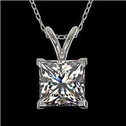 1.25 ctw Certified VS/SI Quality Princess Diamond Necklace 10k White Gold - REF-325F2M