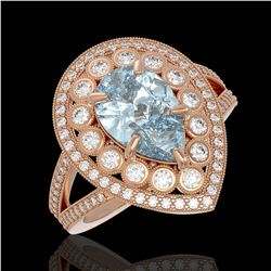 3.82 ctw Certified Aquamarine & Diamond Victorian Ring 14K Rose Gold - REF-168X8A