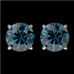 2 ctw Certified Intense Blue Diamond Stud Earrings 10k White Gold - REF-181A6N