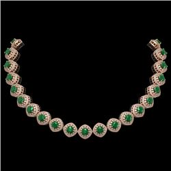 82.17 ctw Emerald & Diamond Victorian Necklace 14K Rose Gold - REF-1800F2M