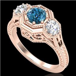 1.05 ctw Intense Blue Diamond Art Deco 3 Stone Ring 18k Rose Gold - REF-161N8F