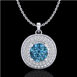 1.25 ctw Fancy Intense Blue Diamond Art Deco Necklace 18k White Gold - REF-161W8H