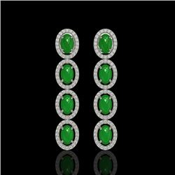 6.44 ctw Jade & Diamond Micro Pave Halo Earrings 10k White Gold - REF-103N6F