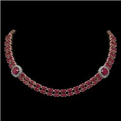43.97 ctw Ruby & Diamond Necklace 14K Rose Gold - REF-527F3M