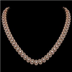 24.19 ctw Oval Cut Diamond Micro Pave Necklace 18K Rose Gold - REF-2092G6W