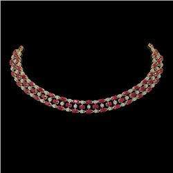 43.07 ctw Ruby & Diamond Necklace 10K Yellow Gold - REF-527F3M