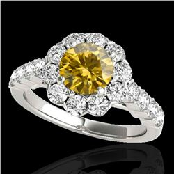 2.35 ctw Certified SI/I Fancy Intense Yellow Diamond Ring 10k White Gold - REF-252M3G
