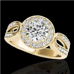 1.4 ctw Certified Diamond Solitaire Halo Ring 10k Yellow Gold - REF-204F5M