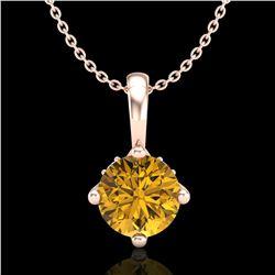 0.82 ctw Intense Fancy Yellow Diamond Art Deco Necklace 18k Rose Gold - REF-136X4A