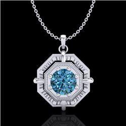 0.75 ctw Fancy Intense Blue Diamond Art Deco Necklace 18k White Gold - REF-121W8H