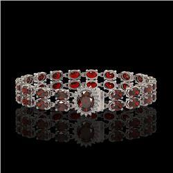 28.52 ctw Garnet & Diamond Bracelet 14K White Gold - REF-218A2N