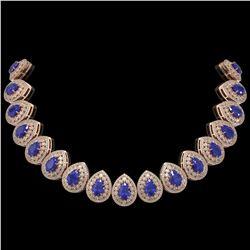 121.42 ctw Sapphire & Diamond Victorian Necklace 14K Rose Gold - REF-3331R5K