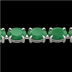 29 ctw Emerald Eternity Designer Bracelet 14k White Gold - REF-180A2N