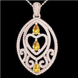 3.50 ctw Yellow Sapphire & Micro Diamond Heart Necklace 14k Rose Gold - REF-218F2M