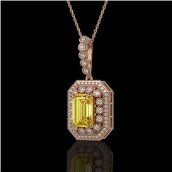 5.82 ctw Canary Citrine & Diamond Victorian Necklace 14K Rose Gold - REF-172K8Y
