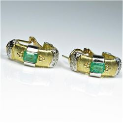 Extra Fine Colombian Emerald and Diamond Earrings
