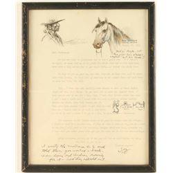 Framed Joe Beeler Letter