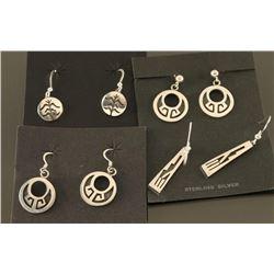 Lot of 4 Hopi Sterling Earrings