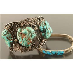 Lot of Silver & Turquoise Bracelet & Cuff