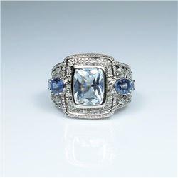 Dynamic Aquamarine, Tanzanite and Diamond Ring