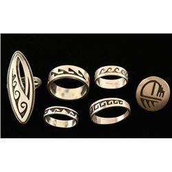 Lot of 6 Sterling Rings