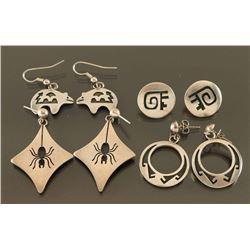 Lot of 5 Hopi Sterling earrings