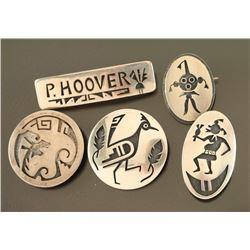 Lot of 5 Hopi Sterling Pins