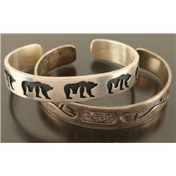 Lot of 2 Hopi Sterling Cuffs