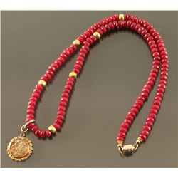 Ruby Beaded Necklace with gold pendant