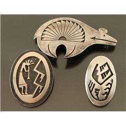 Lot of 3 Sterling Hopi Pins