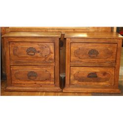 Lot of (2) Rustic Pine Side Tables