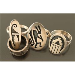 Lot of 5 Sterling Hopi Rings