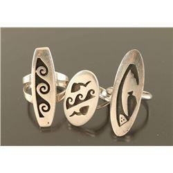 Lot of 3 Hopi Sterling Rings