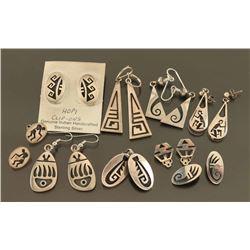 Lot of 8 Pairs of Sterling Hopi Earrings
