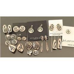 Lot of 12 Hopi Sterling Earrings