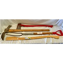LOT OF 4 GARDEN TOOLS - AXE, ADZE, WEEDER, HANDLE